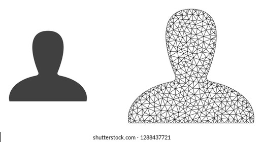Polygonal mesh spawn persona and flat icon are isolated on a white background. Abstract black mesh lines, triangles and dots forms spawn persona icon.