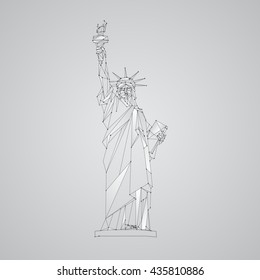 Polygonal mesh Statue of Liberty illustration. Independence Day background with a monument in New York City. Vector low poly black lines and dots.