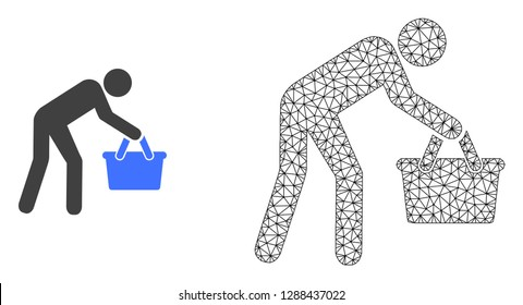 Polygonal mesh tired buyer persona and flat icon are isolated on a white background. Abstract black mesh lines, triangles and nodes forms tired buyer persona icon.