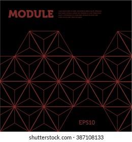 Polygonal module on black background