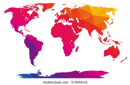 Polygonal mosaic abstract world map, rainbow - multicolored, isolated on white