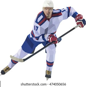 Polygonal mosaic of hockey player. Face view.Vector image