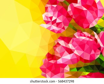 Polygonal mosaic. Spring flowers. The red tulips. Triangular low poly style. Color background. Polygonal background. Template for poster.