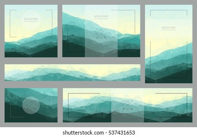 Polygonal mountain backgrounds. Set of stylish nature landscapes. Design for cards, banners, brochures or flyers. Vector illustration with green geometric ridges.