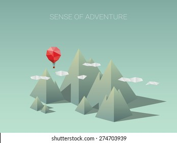 Polygonal mountain range with red balloon. Modern low poly design concept for traveling and adventure. Eps10 vector illustration.