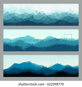 Polygonal mountain ridges.  Outdoor vector illustrations set. Horizontal nature backgrounds for hiking, travelling, banners and outdoor concept.