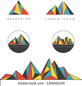 Polygonal mountain ridges. Set of geometric design elements for outdoor and adventure concept. Vector labels.