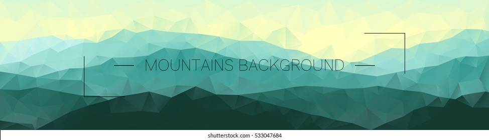 Polygonal mountains background. Geometric abstract landscape. Horizontal vector illustration.