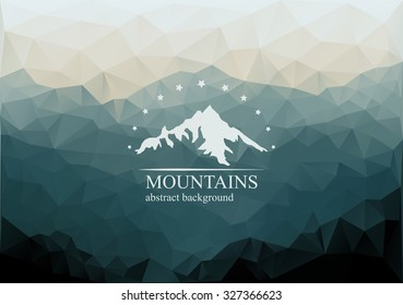Polygonal mountains background with logo on the middle. Geometric abstract landscape. Vector illustration.