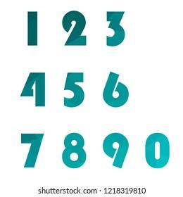 Polygonal numerals. Creative numeral. Geometric design.