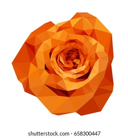 polygonal orange rose, isolated polygon vector flower