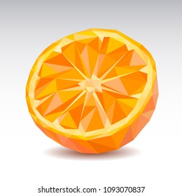 Polygonal Orange slice. Low poly. Vector illustration.