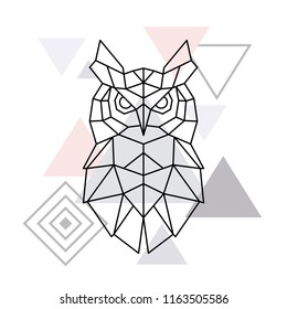 Polygonal Owl on minimalist triangle background. Geometric poster. Vector design template.