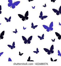 Polygonal pattern with blue butterflies, abstract wallpaper for cover, card and interior design