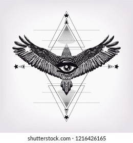 Polygonal pattern with han drawn owl and all seeing eye.