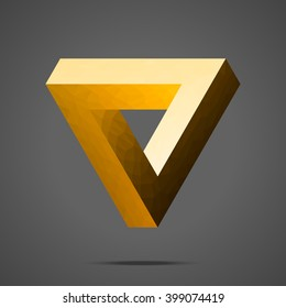 Polygonal Penrose triangle. Gold gradient Impossible geometric element. Optical illusion. Low poly design.
