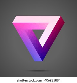 Polygonal Penrose triangle. Impossible geometric element. Optical illusion. Low poly design.