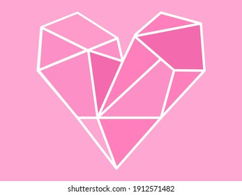 Polygonal pink heart and pink color background