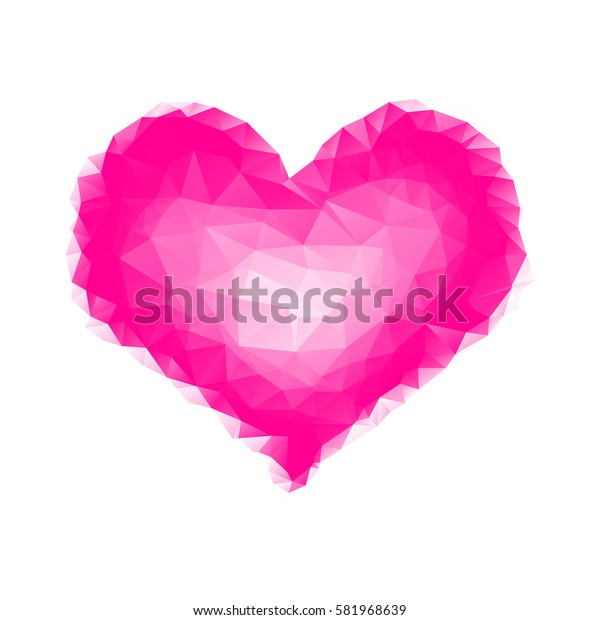 polygonal pink heart on a white background