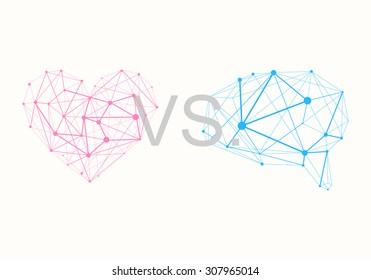 Polygonal Pink Heart vs. Polygonal Blue Brain