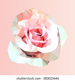 polygonal pink rose, poly low triangle flower, vector