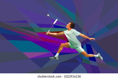 Polygonal professional badminton player on colorful low poly background. Vector illustration