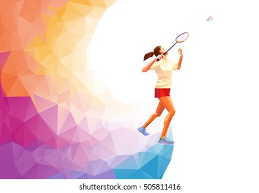 Polygonal professional badminton player. Vector illustration