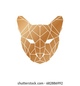 Polygonal puma head. Wild animal icon.