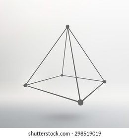 Polygonal pyramid. Pyramid of the lines connected points. Atomic lattice. Driving a constructive solution of the pyramid. White gradient background.