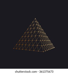 Polygonal pyramid. Vector illustration with wireframe and particles