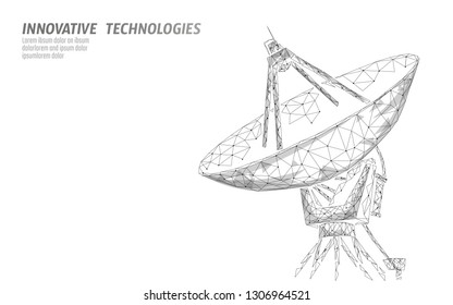 Polygonal radar antenna space defence abstract technology concept. Scanning detect military danger maneuver wireframe mesh 3D warfare. Satellite aiming vector illustration