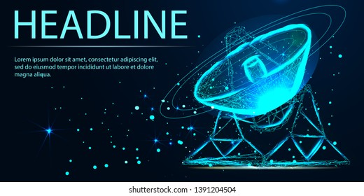 Polygonal radar antenna space defence abstract technology concept. Scanning detect military danger maneuver wireframe mesh 3D warfare. Satellite aiming vector illustration. Headline