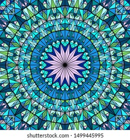 Polygonal round tiled mosaic mandala background - psychedelic colorful vector design from triangle tiles