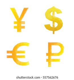 Polygonal ruble yen dollar euro signs. Isolated