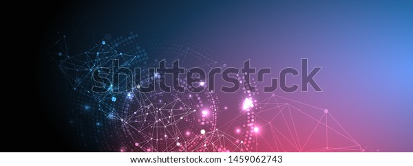 Polygonal science background with connecting dots and lines. Digital data visualization.