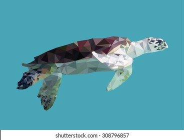 polygonal sea turtle, polygon geometric sea animal, isolated, vector
