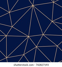 Polygonal seamless background. Geometric line golden blue pattern for wallpapers and textile