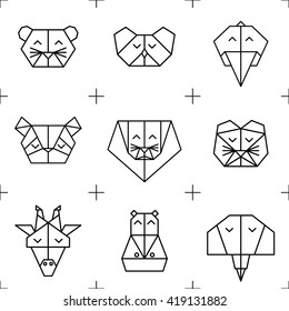 Polygonal seamless pattern with animal heads. Animals triangle background. Animal low poly pattern. Vector origami animal pattern. Seamless polygon jungle animal pattern.