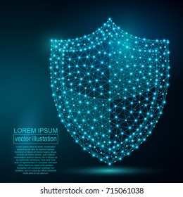 Polygonal security shield abstract image, isolated on black background. Vector business concept of data protection illustration. Low poly wireframe, geometry triangle, lines, dots, polygons, shapes