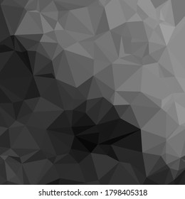 Polygonal shapes background, low poly triangles mosaic, black crystals backdrop for your wallpapper