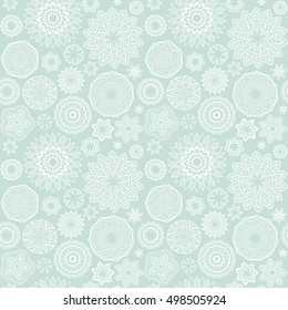 Polygonal shapes pattern. Mandala circles. Vector geometric floral blue and white seamless background.
