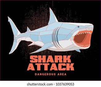polygonal shark poster / t shirt design