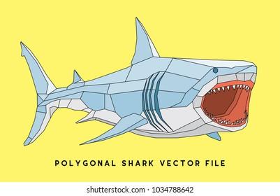 polygonal shark t shirt / poster design