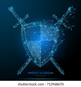 Polygonal Shield and Swords isolated on dark background. Protect and secure concept. Low poly vector illustration of a starry sky or Comos. Digital images consists of lines, dots and destruct shapes.