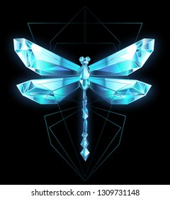 Polygonal, sparkling dragonfly made of blue, transparent ice on black background.