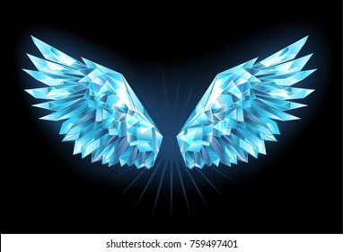 Polygonal, sparkling ice wings on blue background.
