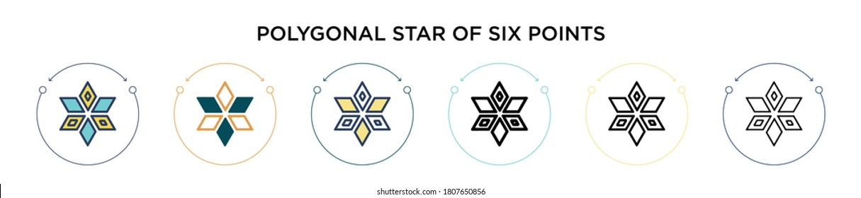 Polygonal star of six points icon in filled, thin line, outline and stroke style. Vector illustration of two colored and black polygonal star of six points vector icons designs can be used for