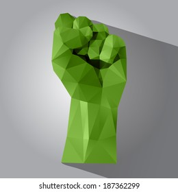 Polygonal style clenched fist on a light background