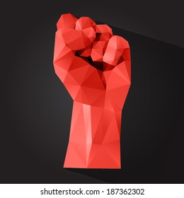 Polygonal style clenched fist on a dark background