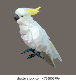 polygonal sulphur crested cockatoo, geometric polygon bird, isolated vector animal